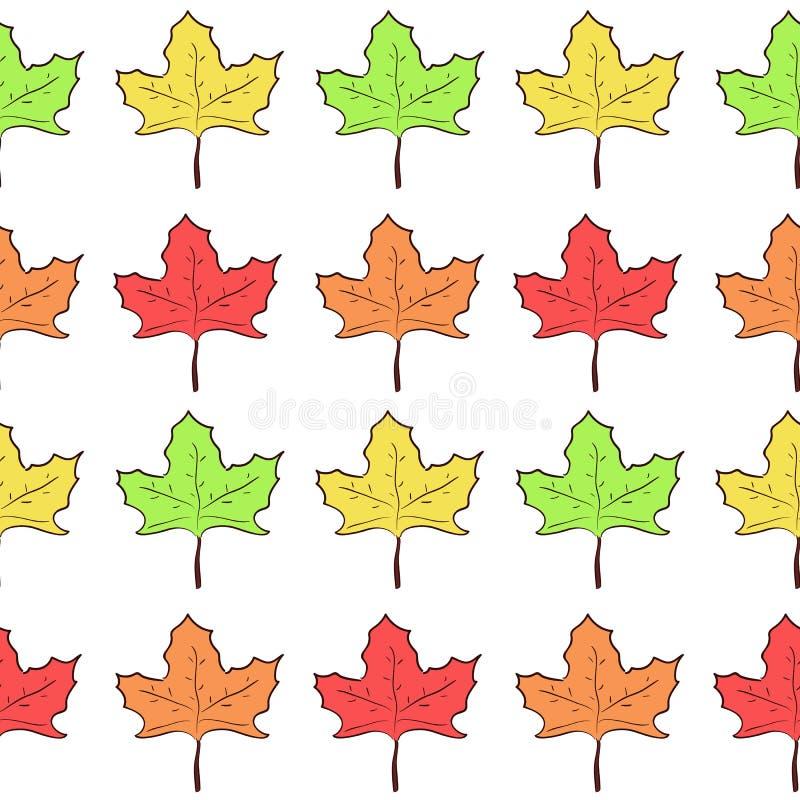 Naadloos patroon met rijen van leuke esdoornbladeren royalty-vrije illustratie