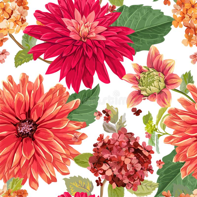 Naadloos Patroon met Rode Asters-Bloemen Bloemenachtergrond voor Stoffentextiel, Behang, het Verpakken De bloemen van de waterver stock illustratie