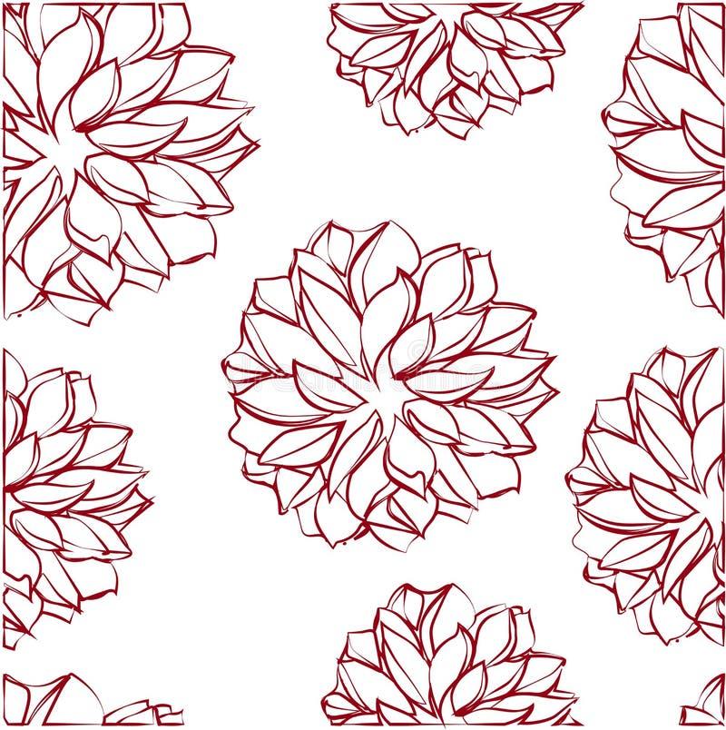 Naadloos patroon met rode bloemen stock illustratie