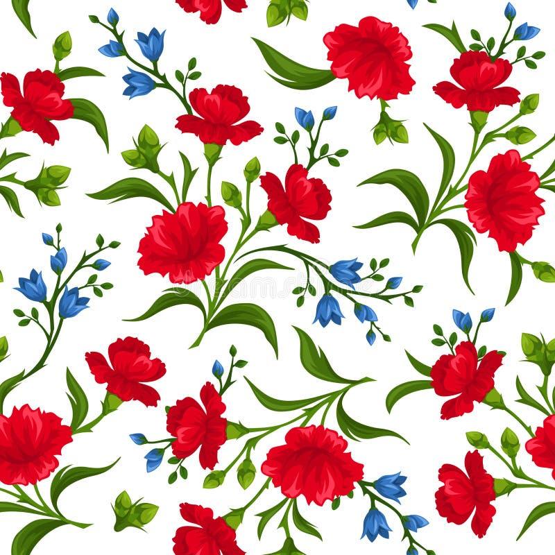 Naadloos patroon met rode en blauwe bloemen Vector illustratie royalty-vrije illustratie