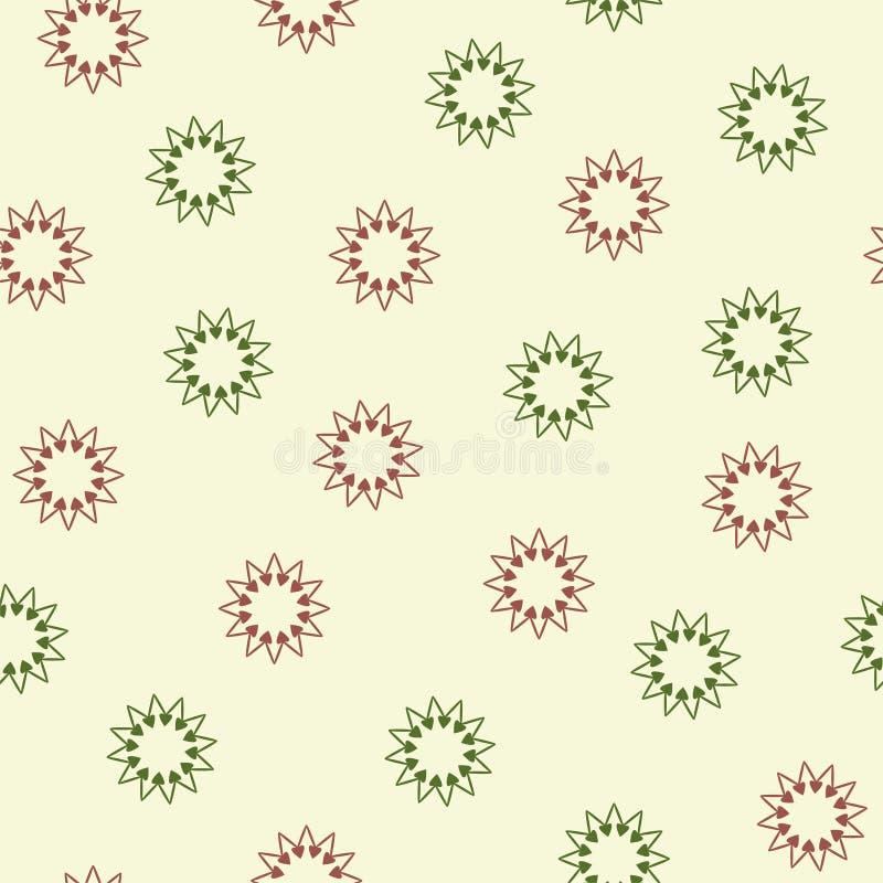 Naadloos patroon met rode en groene harten in een cirkel Vector royalty-vrije illustratie