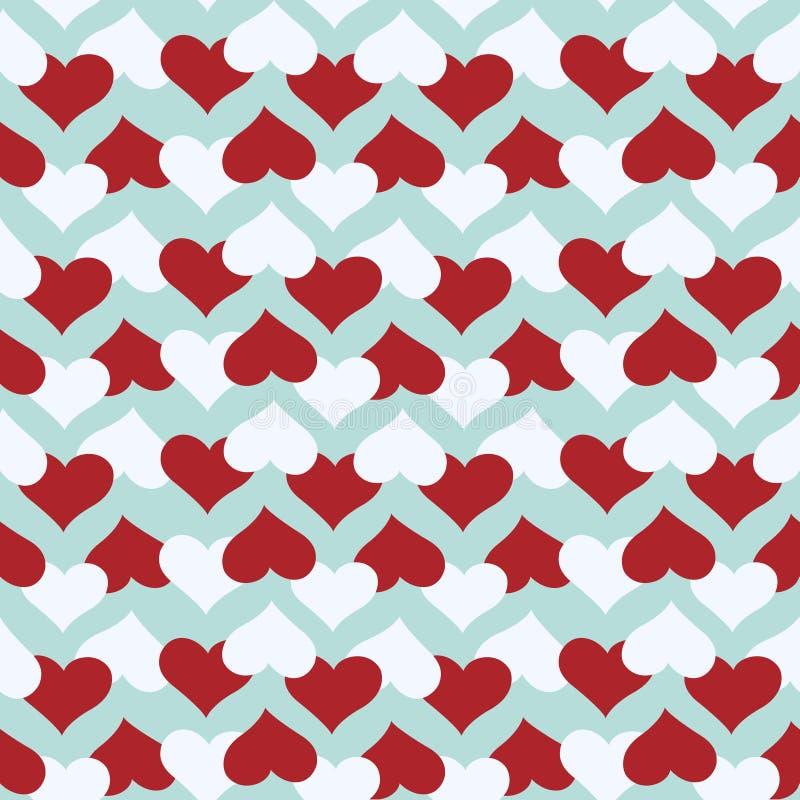 Naadloos patroon met rode en witte harten over blauwe achtergrond vector illustratie