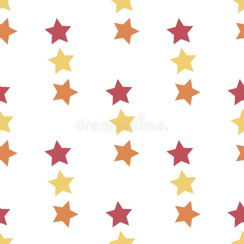 Naadloos patroon met rode, gele en oranje sterren op witte achtergrond voor vleid, stof, textiel, kleding, kaarten, postkaarten vector illustratie