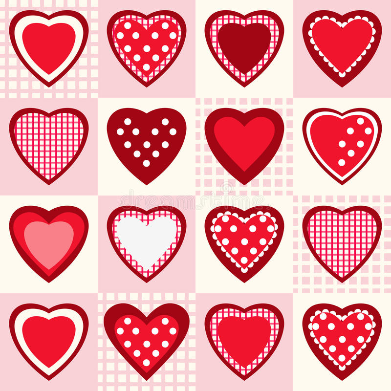 Naadloos patroon met rode harten vector illustratie
