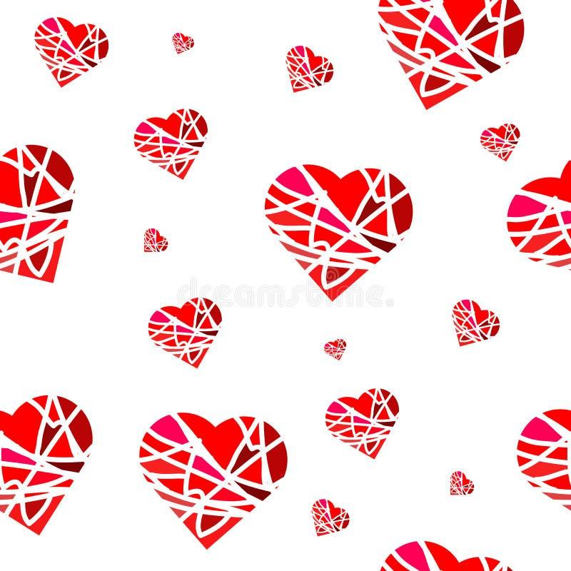 Naadloos patroon met rode harten in etnische stijl voor giftdocument royalty-vrije illustratie