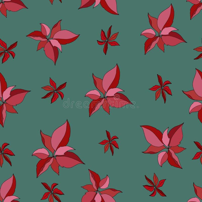 Naadloos patroon met rode poinsettia op groene Vrolijke backgroundÑŽ stock illustratie