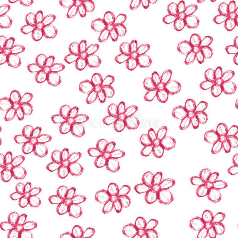 Naadloos patroon met rode waterverfbloemen op witte achtergrond stock illustratie