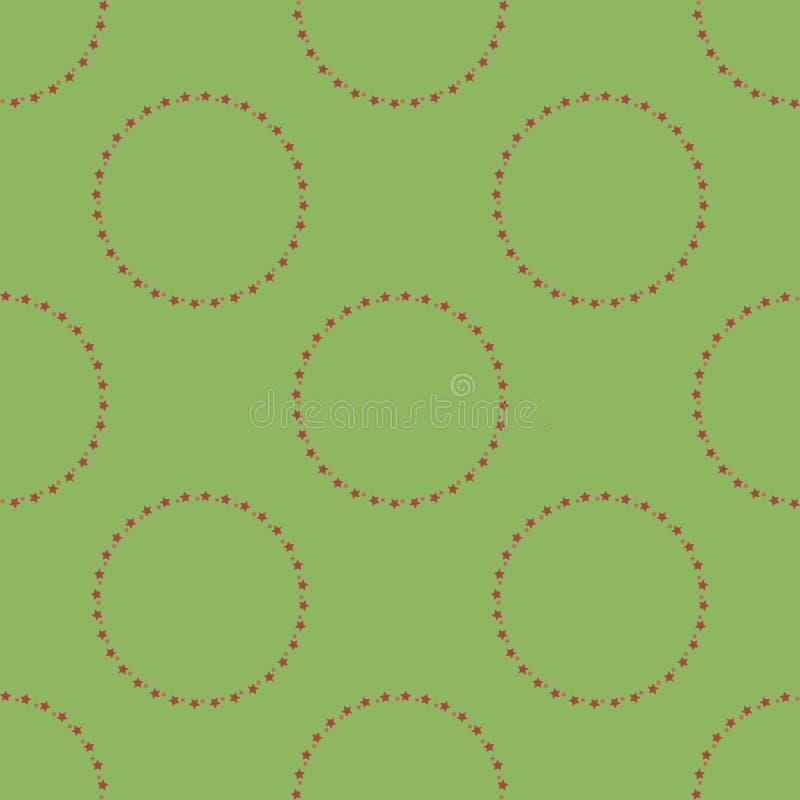 Naadloos patroon met ronde frames van rode sterren op groene achtergrond voor vlecht, stof, textiel, kleding, kaarten, postkaarte vector illustratie