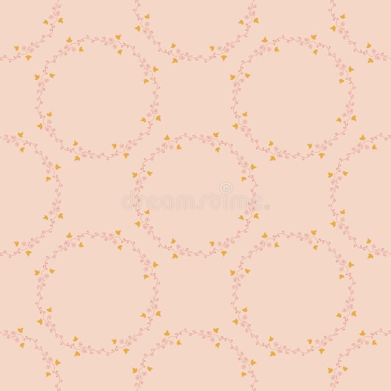 Naadloos patroon met ronde kaders van horizontale gele bladeren en rode decoratieve elementen op beijeachtergrond stock illustratie