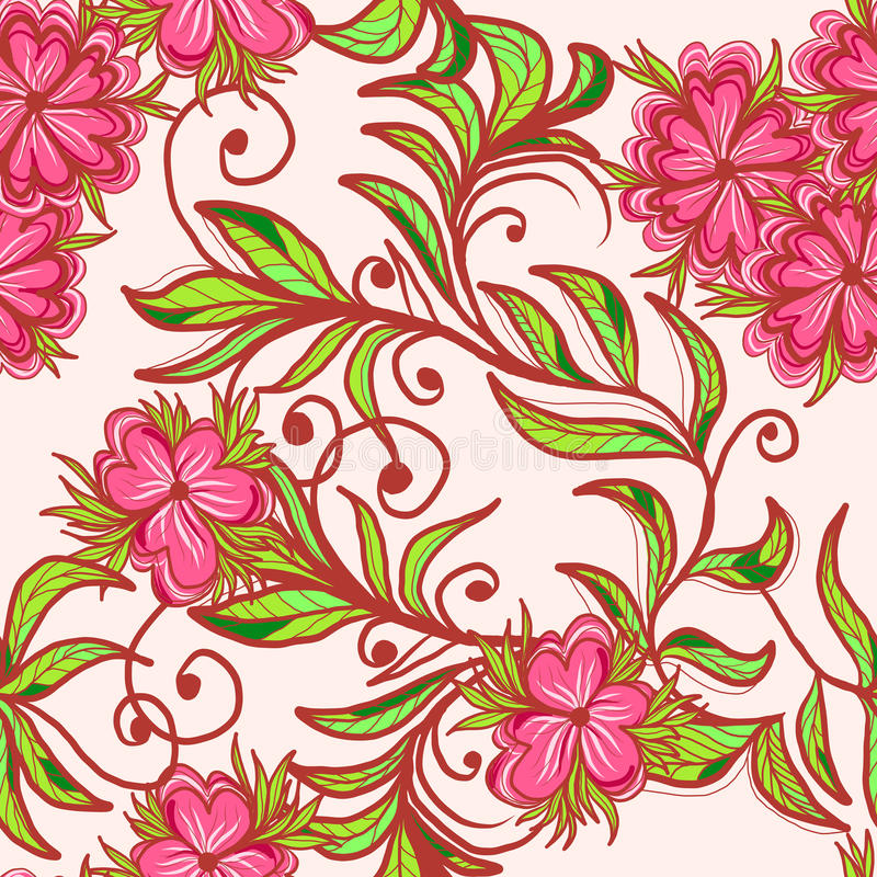 Naadloos patroon met roze bloem royalty-vrije illustratie