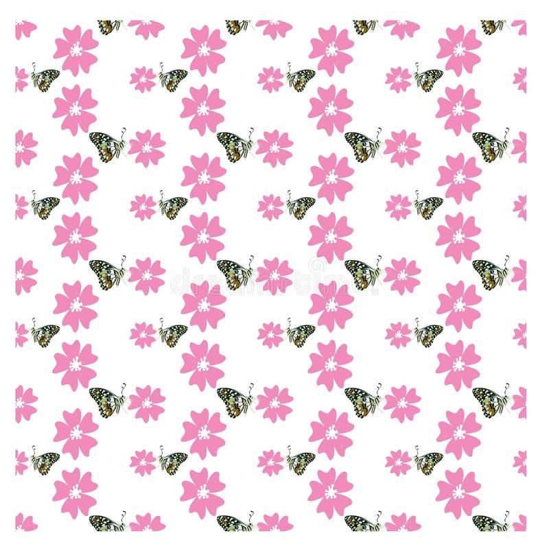Naadloos patroon met roze bloem en vlinder op witte achtergrond royalty-vrije illustratie