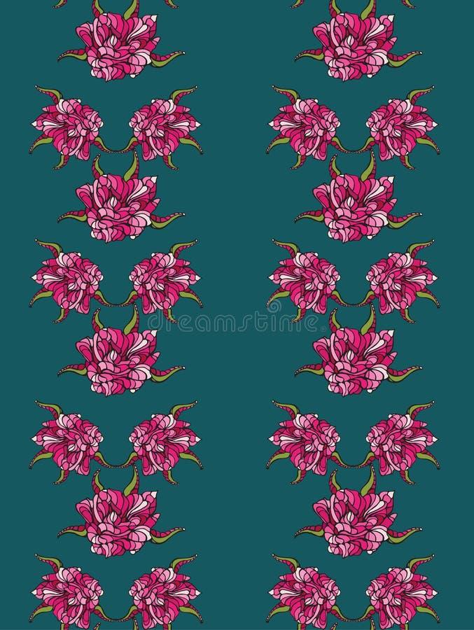 Naadloos patroon met roze bloemen stock illustratie