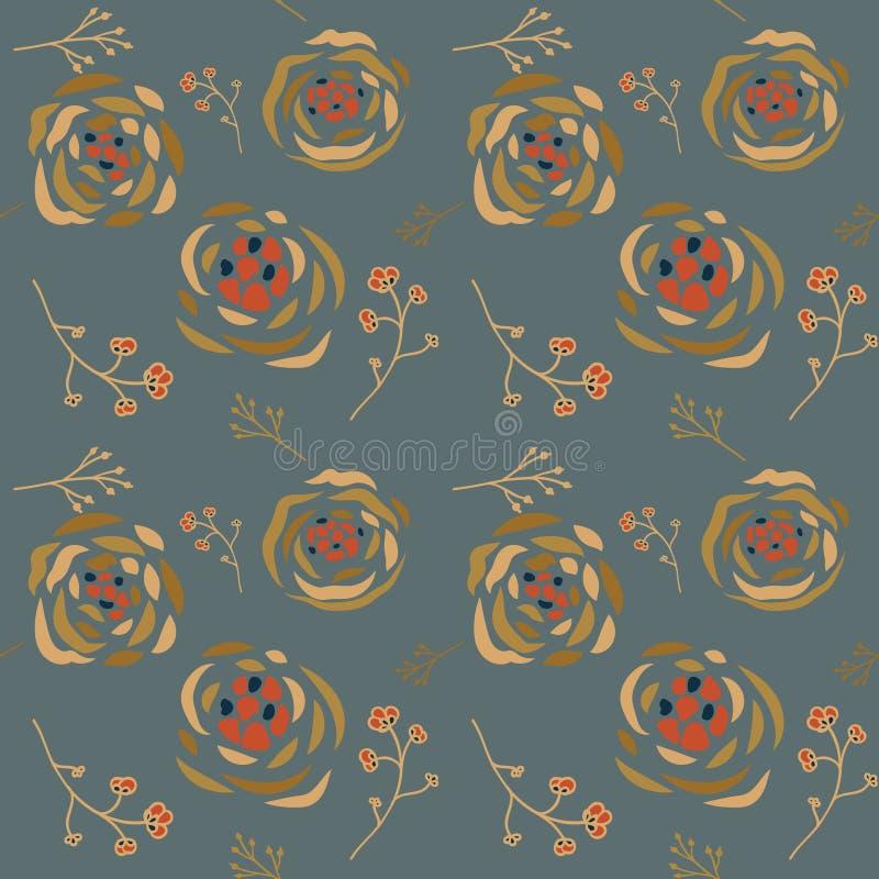 Naadloos patroon met roze bloemen en bladeren over blauwe grijze achtergrond royalty-vrije illustratie