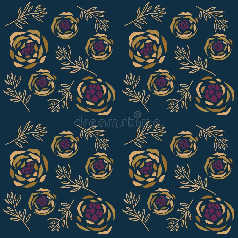 Naadloos patroon met roze bloemen en bladeren over donkere turkooise achtergrond vector illustratie