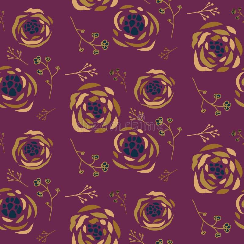 Naadloos patroon met roze bloemen en bladeren over purpere achtergrond stock illustratie