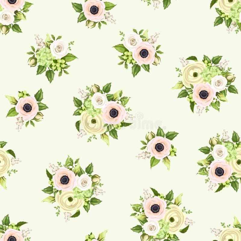 Naadloos Patroon met Roze en Witte Bloemen Vector illustratie vector illustratie