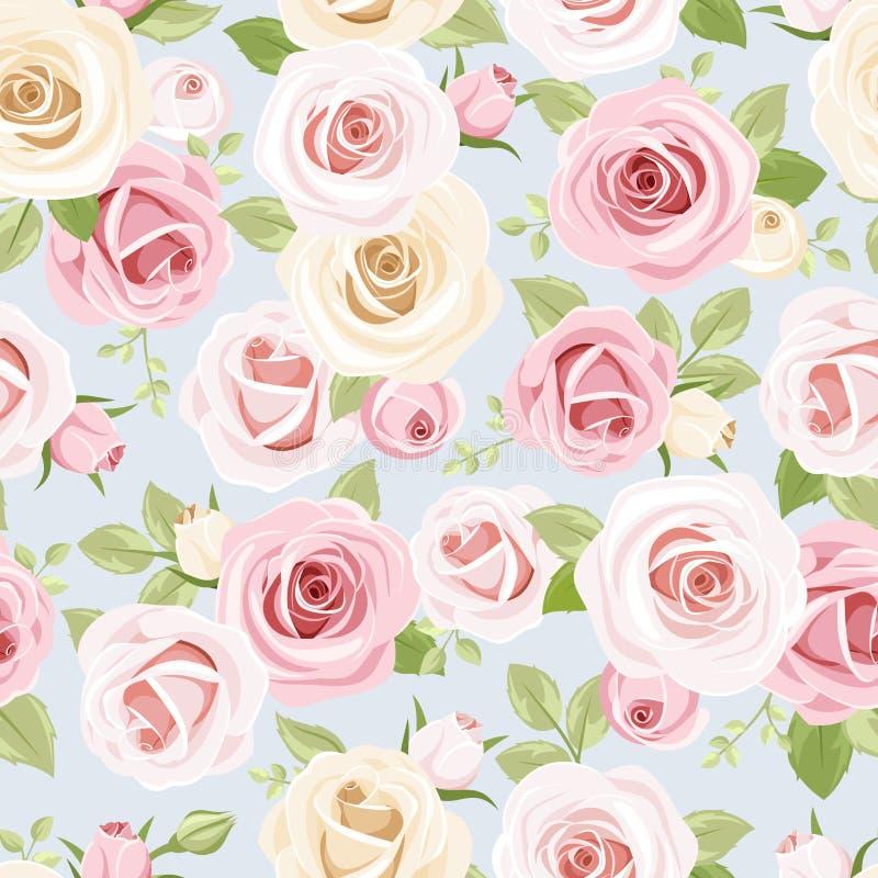 Naadloos patroon met roze en witte rozen op blauw Vector illustratie stock illustratie