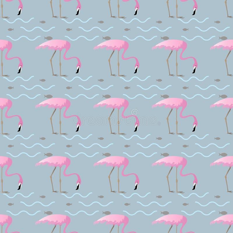 Naadloos patroon met roze flamingo's en vissen op abstracte achtergrond Grappige tropische illustratie stock illustratie