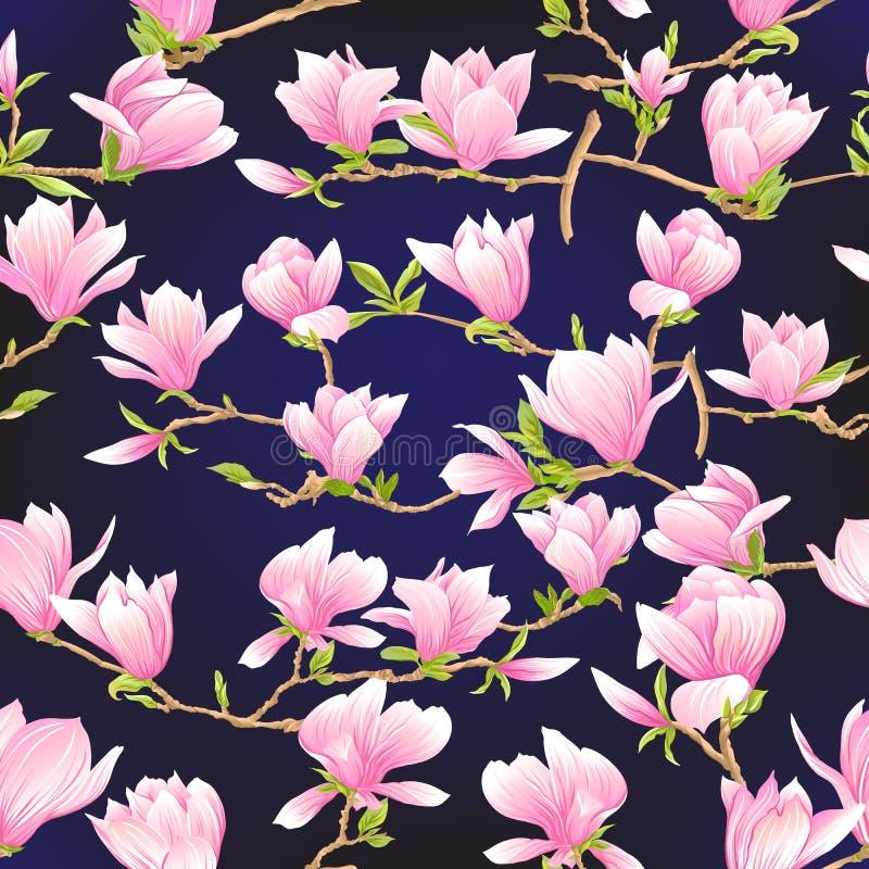 Naadloos patroon met roze magnoliabloemen Vector illustratie royalty-vrije illustratie