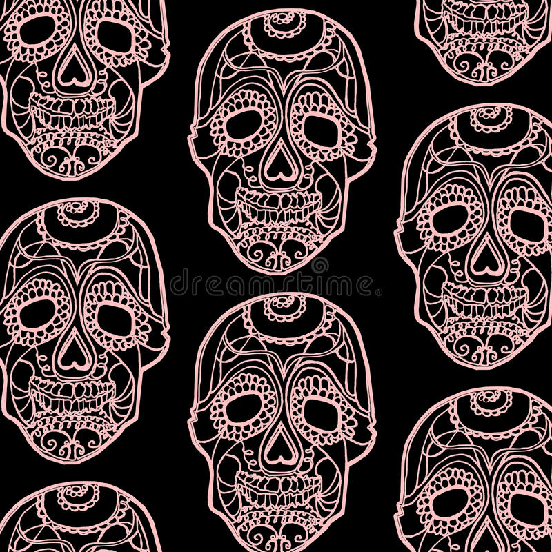 Naadloos patroon met roze schedels en zwarte achtergrond royalty-vrije stock afbeelding
