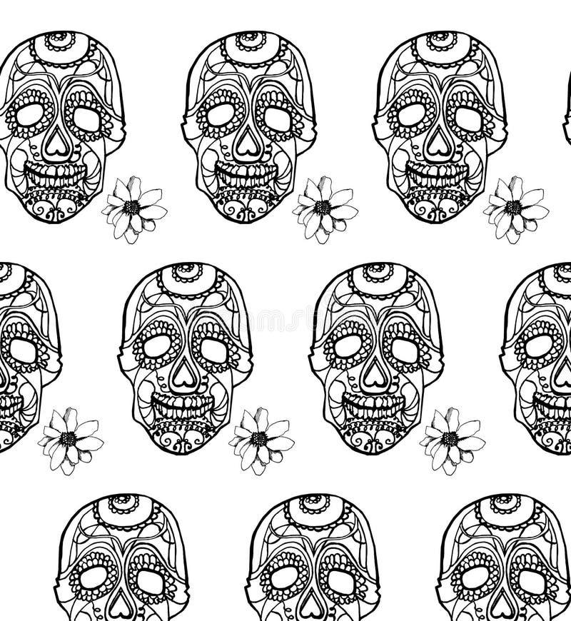 Naadloos patroon met roze schedels en zwarte achtergrond stock illustratie