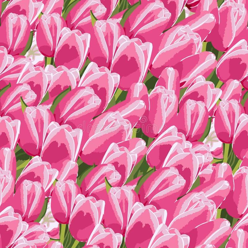Naadloos patroon met roze tulpen vector illustratie