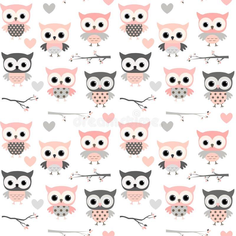 Naadloos patroon met roze uilen, harten en takken stock illustratie