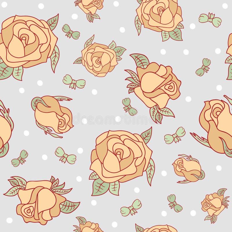 Naadloos patroon met rozen en bogen stock illustratie