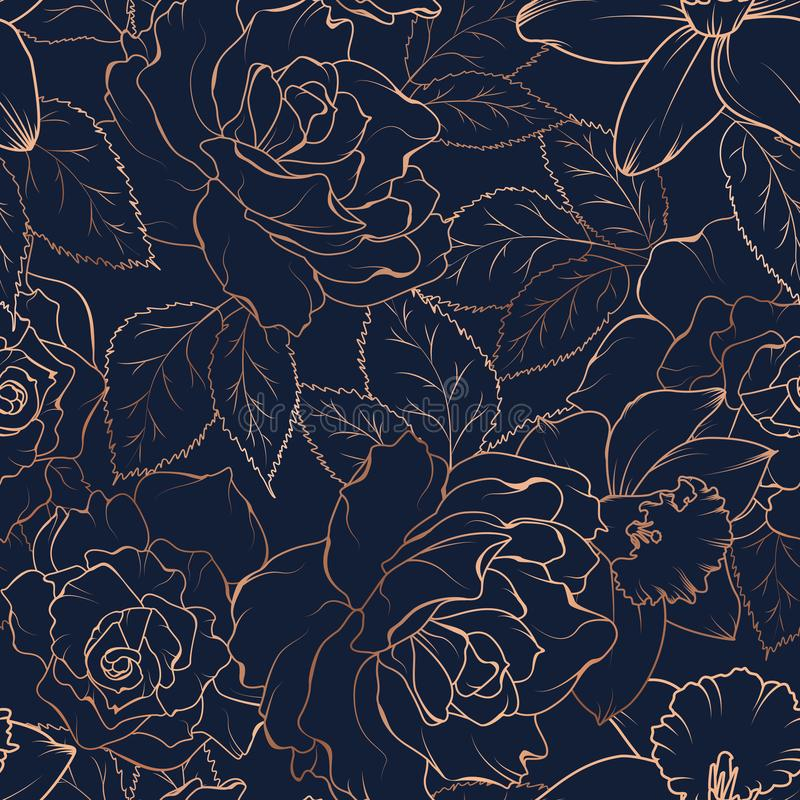 Naadloos patroon met rozen en gele narcissen op dark Vector illustratie royalty-vrije illustratie