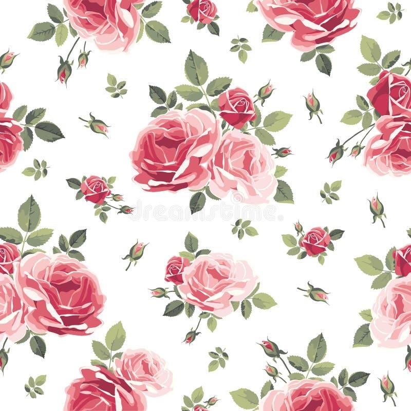 Naadloos patroon met rozen Uitstekende bloemenachtergrond vector illustratie