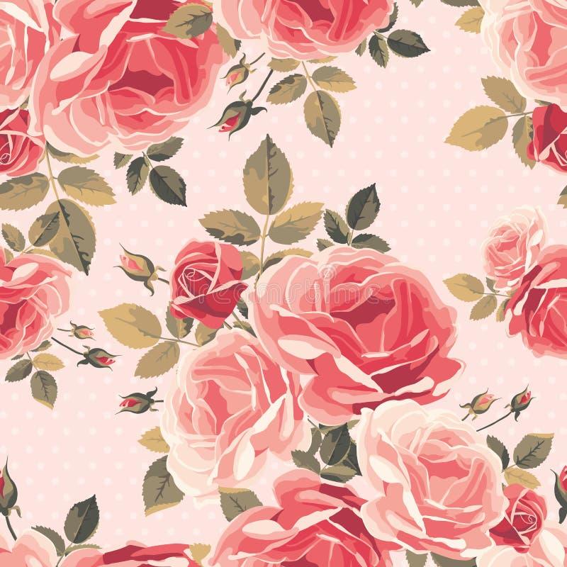 Naadloos patroon met rozen Uitstekende bloemenachtergrond royalty-vrije illustratie