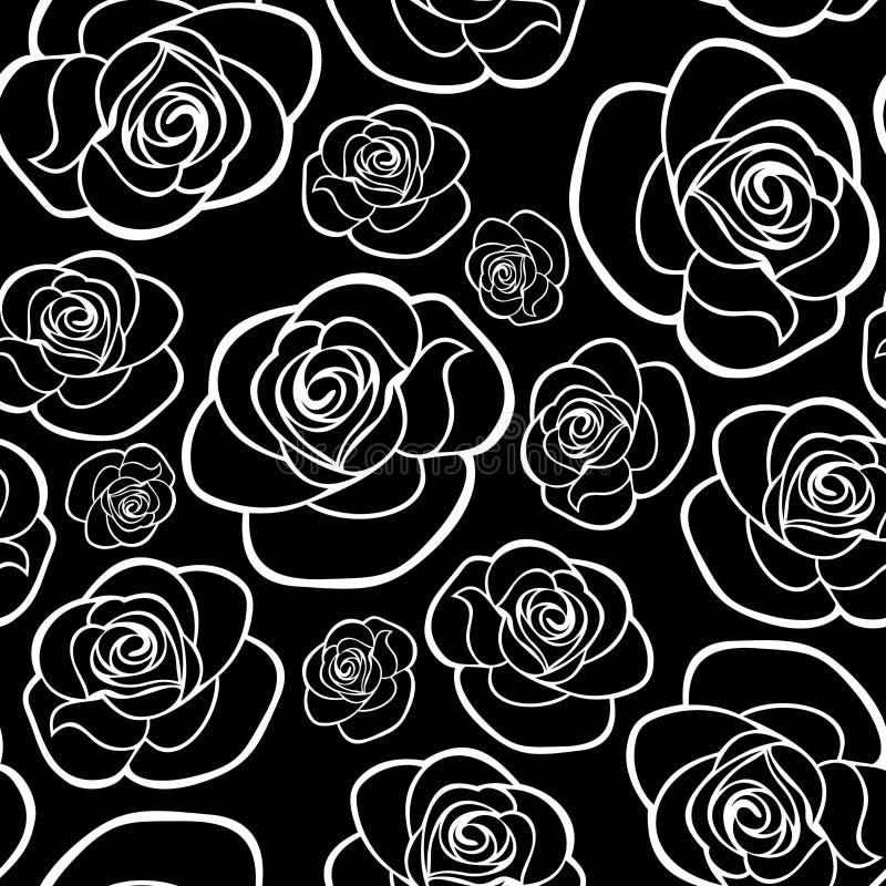 Naadloos patroon met rozencontouren royalty-vrije illustratie