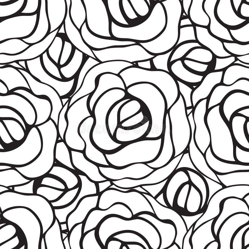 Naadloos patroon met rozencontouren Vector illustratie royalty-vrije illustratie