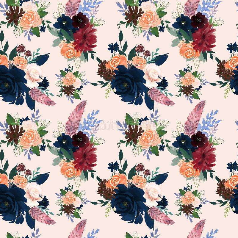 Naadloos patroon met rozerood marsala Marineblauw bloemen van Bourgondië en van bladeren bloemenveren patroon voor behang vector illustratie