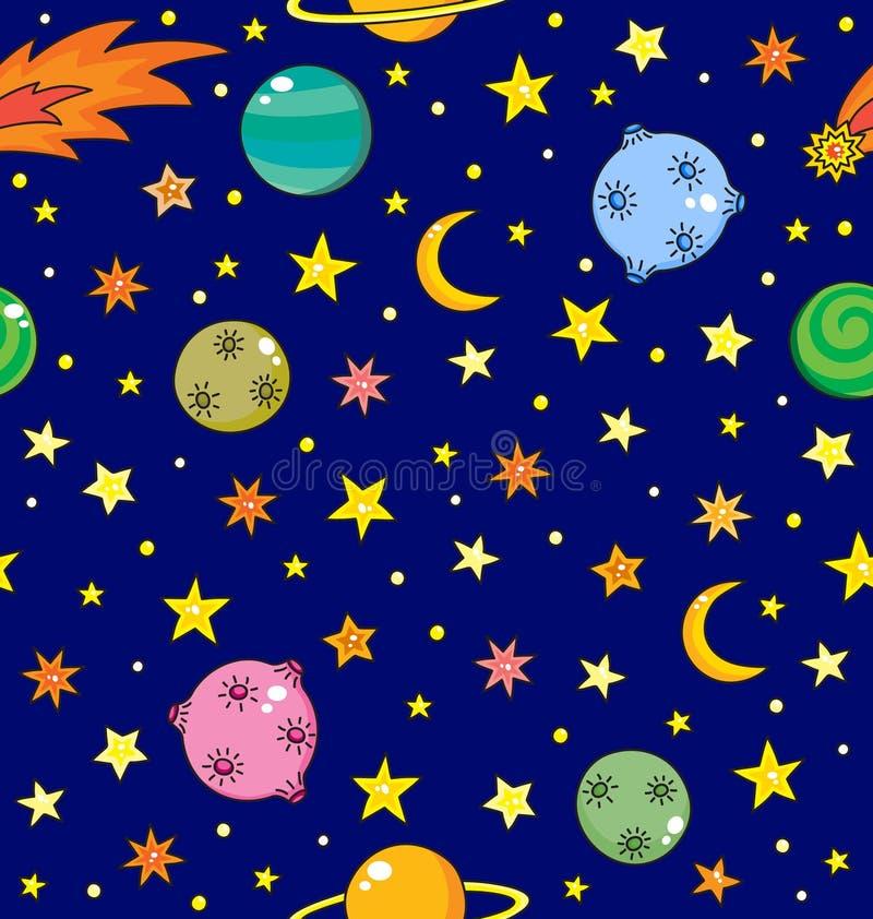 Naadloos patroon met ruimte, planeten, komeet en sterren stock illustratie