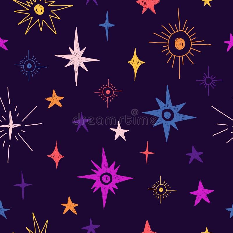 Naadloos patroon met ruimteelementen Het behang van de beeldverhaalstijl met kosmische ster De achtergrond van kinderen met hand- royalty-vrije illustratie