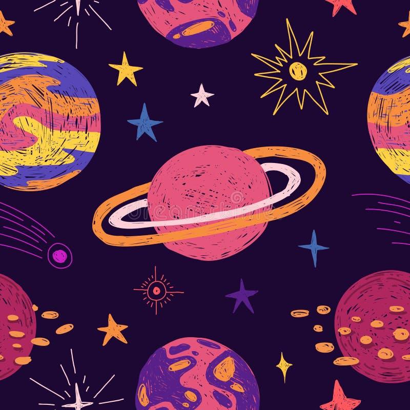 Naadloos patroon met ruimteelementen Het behang van de beeldverhaalstijl met planeten en kosmische ster De achtergrond van kinder royalty-vrije illustratie