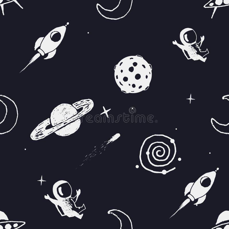 Naadloos patroon met ruimtevoorwerpen vector illustratie