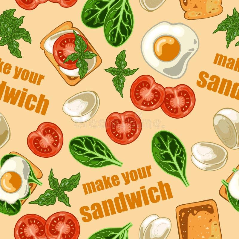 Naadloos patroon met sandwich en ingrediënten voor sandwich royalty-vrije illustratie