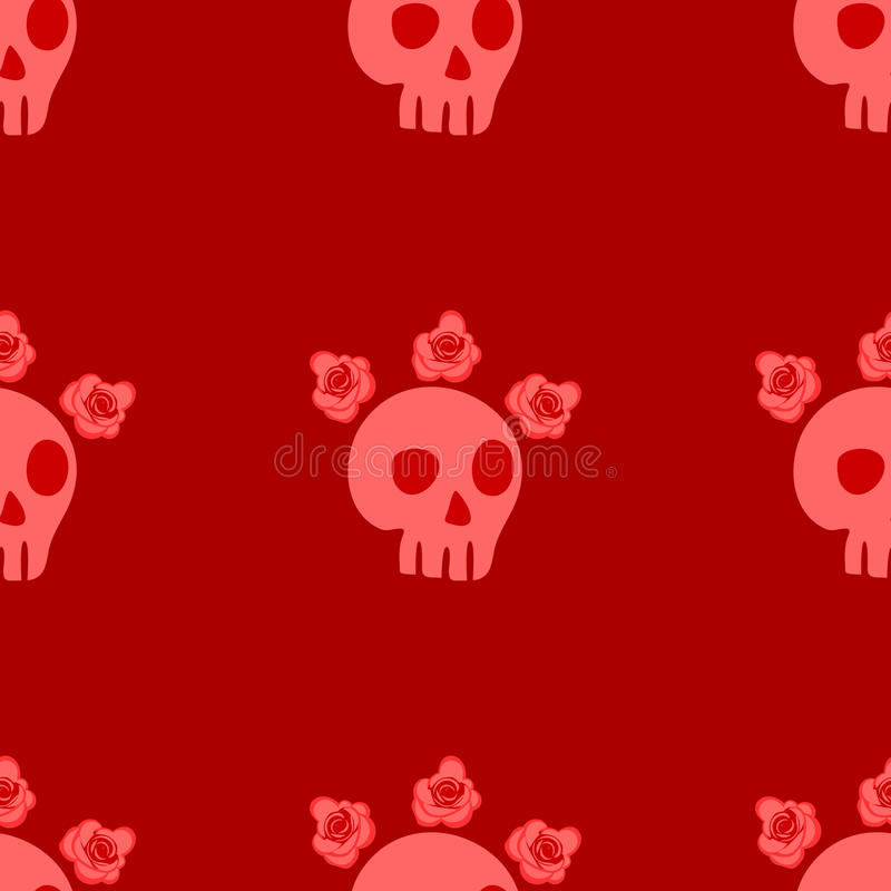 Naadloos patroon met schedels en rozen royalty-vrije illustratie