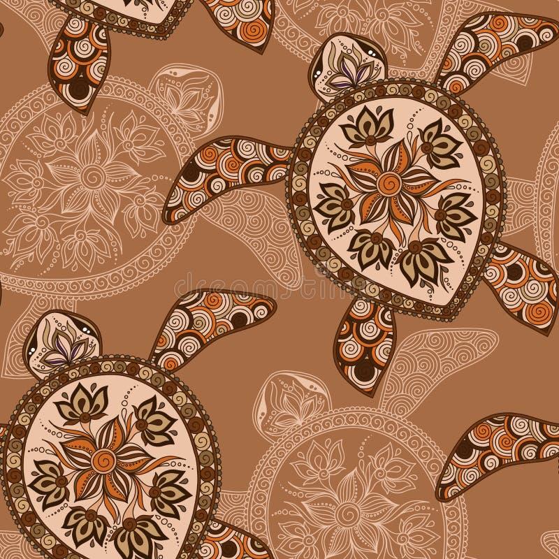 Naadloos patroon met schildpadden vector illustratie