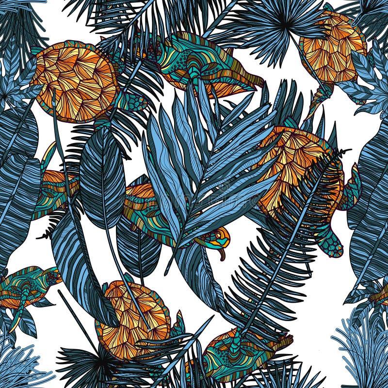 Naadloos patroon met schildpadden en tropische bladeren stock illustratie