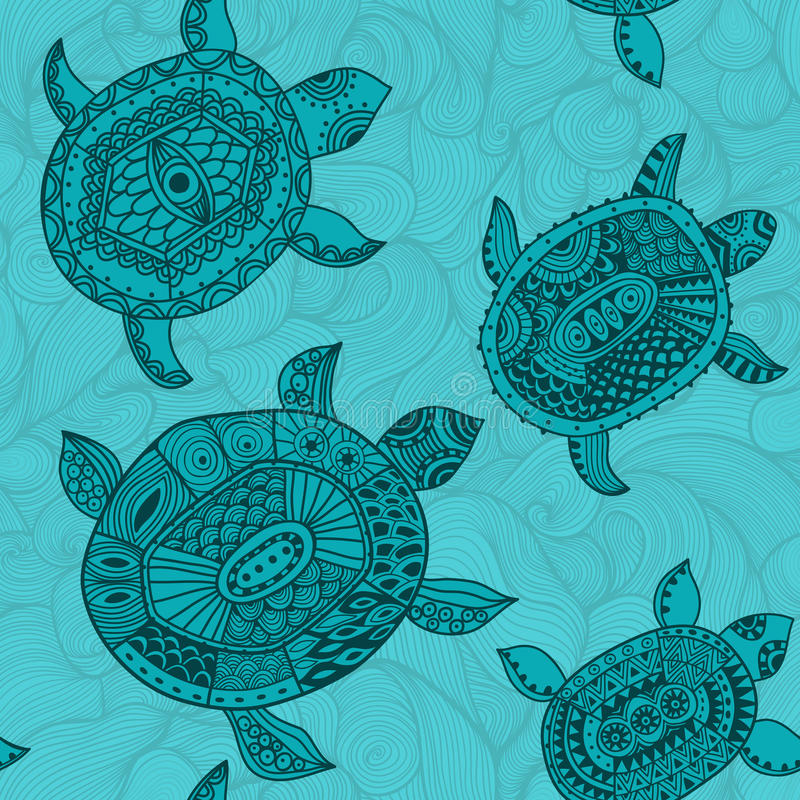 Naadloos patroon met schildpadden. Het naadloze patroon kan worden gebruikt voor vector illustratie