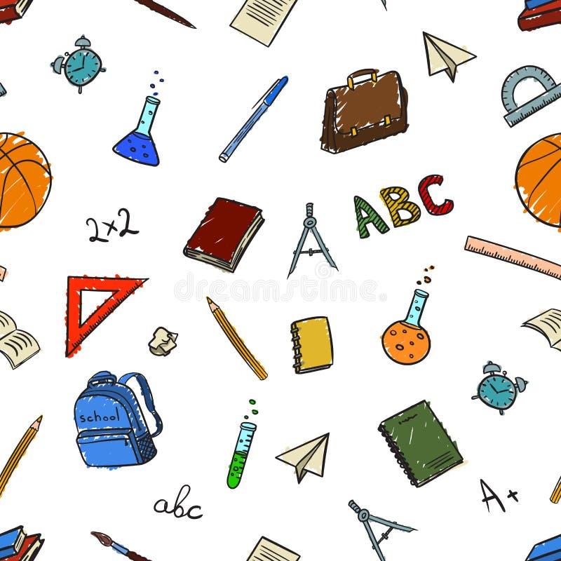 Naadloos patroon met schoolelementen bij terugkeer om fir van september in stijl in kleur te scholen Vector illustratie vector illustratie