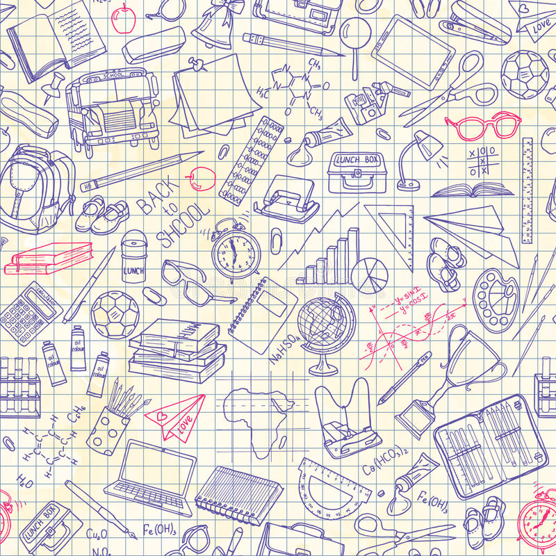 Naadloos patroon met schoolmateriaal vector illustratie