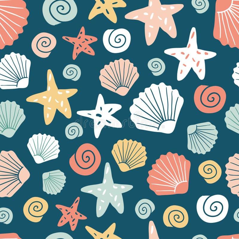 Naadloos patroon met shells en zeester royalty-vrije stock afbeelding