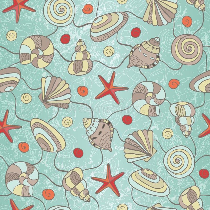 Naadloos patroon met shells en zeester stock illustratie