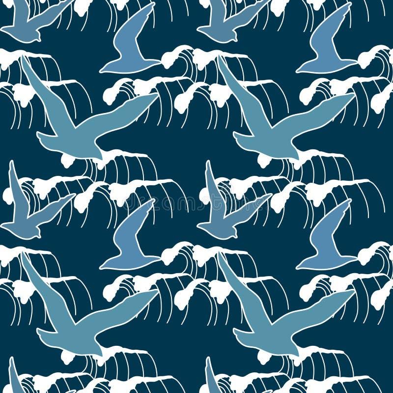Naadloos patroon met silhouetten die van zeemeeuw tegen een achtergrond van een nachtonweer vliegen royalty-vrije illustratie
