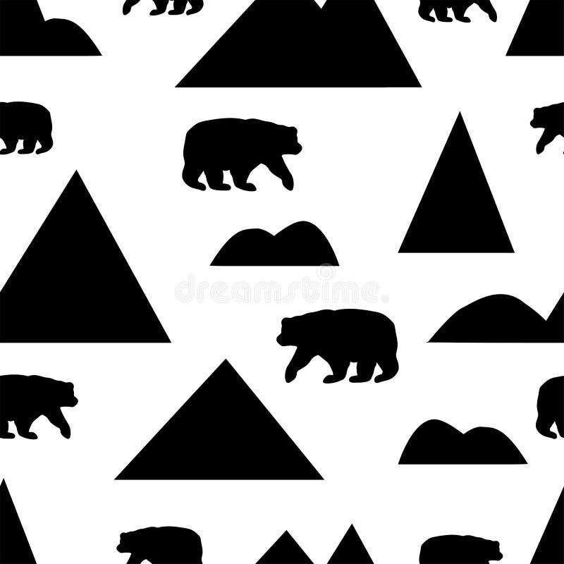 Naadloos patroon met silhouetten van de zwarte bergen en bea royalty-vrije illustratie