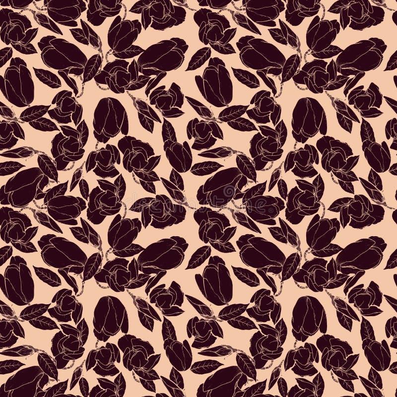 Naadloos patroon met silhouetten van magnolia's stock illustratie
